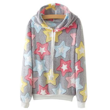 Colorful Stars All Over Print Hoodies Sweater