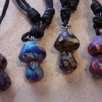 Fimo Mushroom Adjustable Necklace on Black Cord