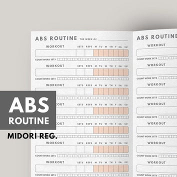 Fitness Planner, Abs Workout Routine, Fitness journal printable, Workout Tracker, Fitness journal, Midori Refill, Healthy Habit, Exercise