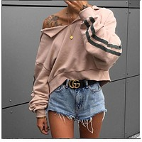 Striped long sleeves sweater women loose shirt fashion