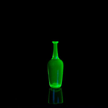 Uranium Glass, Miniature Glass Bottle