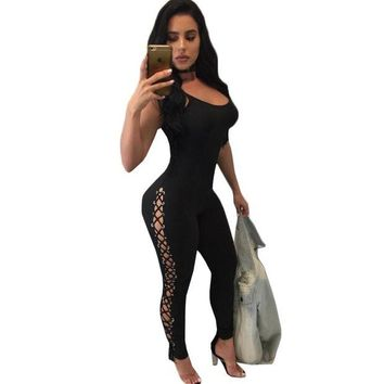 LMFCI7 2017 Sexy Lace Up Rompers Womens Jumpsuit Winter Straps Backless Long Pants Rivet Hollow Out Bodycon Jumpsuits Stretch Overalls