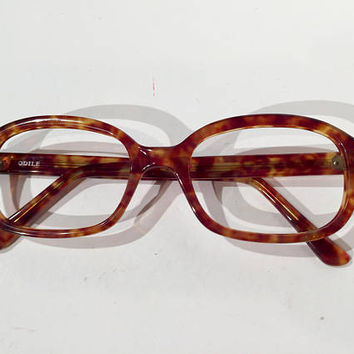 1950s Cat Eye Oval Demi Amber Glasses Frames, NOS, Deadstock Vintage Large Size Tortoise Cateye Eyeglasses, New Old Stock, Nerd Geek Frames