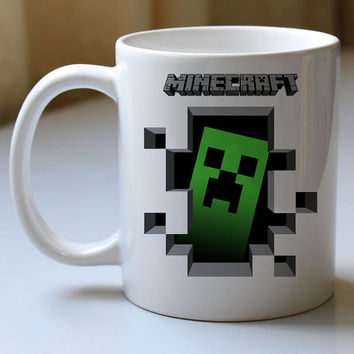 creeper inside minecraft green mug two side cramics high quality