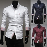 Men's Fashion New Plaid Pocket Decorative Casual Long-sleeved Slim Shirt
