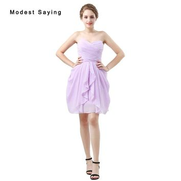 Sexy Sheath Lavender Pleated Bridesmaid Dresses 2018 Formal Women Short Ruffled Maid of Honor Dresses Mini Party Prom Gowns