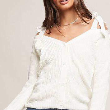 Open-Shoulder Self-Tie Sweater