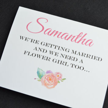 Will you be my flower girl PERSOLIZED NAME FLOWER girl card bridesmaid card wedding party card custom name flower girl card cute flower card