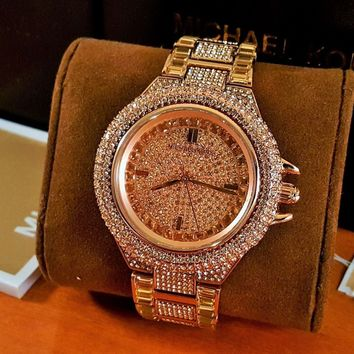 MICHAEL KORS Camille Crystal Rose Dial Rose Gold-tone Ladies Watch MK5862