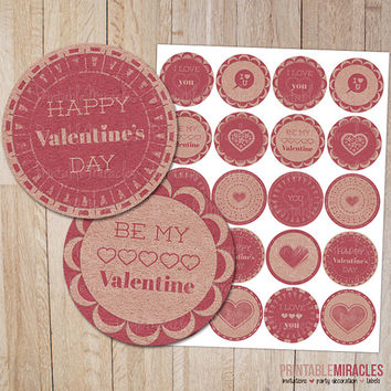 Valentine's Day cupcake toppers / Valentine party decoration / Digital Printables / Pink Valentine round labels / Valentines Day circles 2""