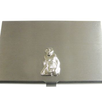 Silver Toned Monkey Pendant Business Card Holder