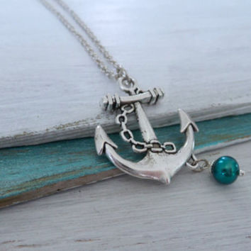 Anchor Pearl Necklace by SBC, Antique Silver Anchor, Teal Freshwater Pearl, Antique Plated Silver Chain, Anchor Pearl Necklace, Lost at Sea