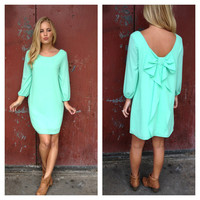 Mint Bow Back 3/4 Sleeve Dress