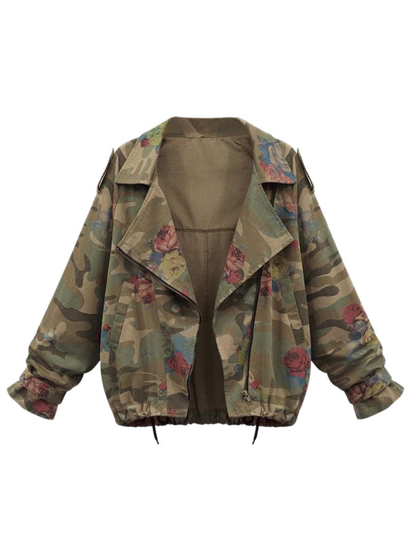 Army Green Floral Drawstring Jacket from Midnight Bandit dc355c66e85db