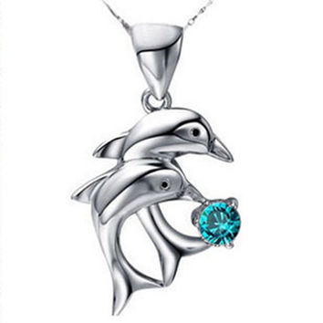 Trendy And Classic Love Forever Double Dolphin Pattern Woman Pendant Necklace - Color Blue White Purple Pink NL-0715