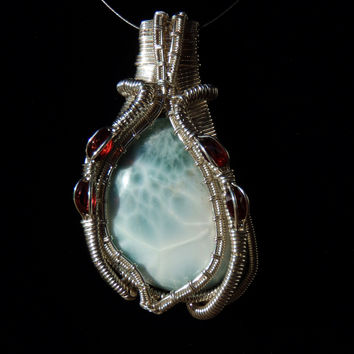 HUGE Natural LARIMAR Piece and Garnets in Super Heady Handmade Wire Wrapped Pendant, Made with LOVE