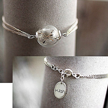 Sterling Silver REAL DANDELION bracelet - delicate glass orb with real dandelion seeds and sterling silver WISH charm.