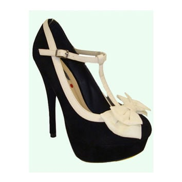 Black & Cream Abby T-Strap Bow Heels - Unique Vintage - Homecoming Dresses, Pinup & Prom Dresses.