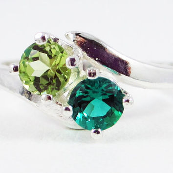 Sterling Silver Emerald and Peridot Ring, August Birthstone Ring, May Birthstone Ring, Two Stone Ring, Peridot Emerald Ring, 925 Ring