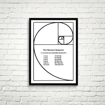 Instant download Science art mathematics Fibonacci Spiral Fibonacci number for school university college classroom scientific decor *72*