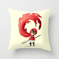 Red Cape Throw Pillow by Freeminds