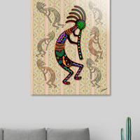 «Kokopelli Rainbow Colors on Tribal Pattern», Numbered Edition Fine Art Print by BluedarkArt Lem - From 55.00€ - Curioos