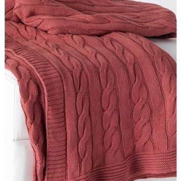 Favorite Terra Cotta Cable Knit Throw