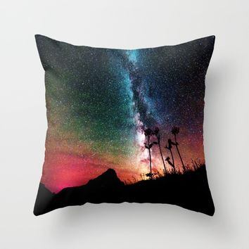 Colorful Milky Way Landscape Throw Pillow by 2sweet4words Designs