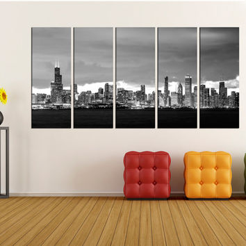 Chicago wall art canvas print, Chicago skyline night extra large wall art canvas, large Chicago  black and white wall art canvas no:16