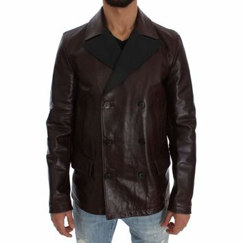 Dolce & Gabbana Brown Double Breasted Leather Jacket