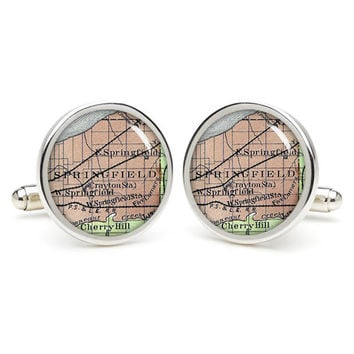 Springfield  city map cufflinks , wedding gift ideas for groom,gift for dad,great gift ideas for men,groomsmen cufflinks,silver cufflinks