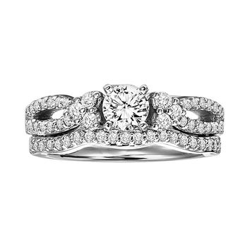 Cherish Always Round-Cut Diamond Infinity Engagement Ring Set in 14k White Gold (1 ct. T.W.)