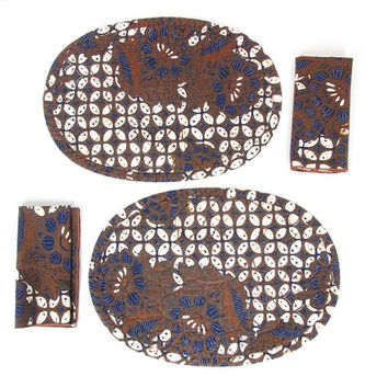 Vintage Placemats & Napkins - 6 Piece Set - Indigo Blue and Brown Wax Print Boho Batik - Round Quilted Placemats + Square Cloth Napkins
