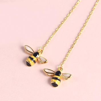2018 Bee Pendant Dangle Drop Earrings For Women Korean Cute 925 Sterling Silver Personalized Animal Wasp Gold Color S925 Jewelry
