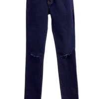 Dark Blue Denim Skinny Jeans With Knee Slits