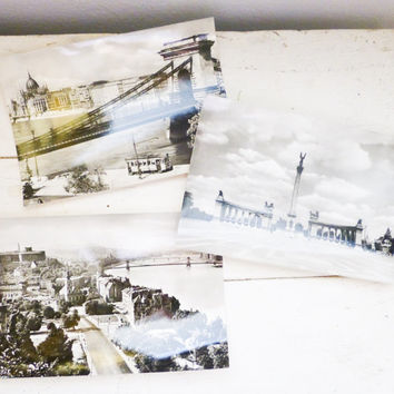 Travel postcards, postcards of hungary, set of three, blank postcards, Czeizing Lajos, chain bridge, Millenary Monument, budapest, souvenir