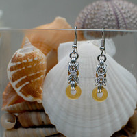 Byzantine Earrings with Sunrise Yellow Accents - Ready to Ship