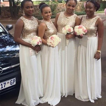 Shinning Long Gold White Bridesmaid Dresses Chiffon Sequin Unique Bridesmaid Dress Empire Sparkly Bridesmaid Gown Wedding B41