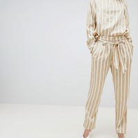 Selected Metallic Striped Wide Leg Trouser With Belt at asos.com