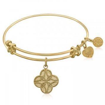 Expandable Bangle in Yellow Tone Brass with Celtic Four Knot Good Fortune Symbol