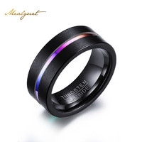 Meaeguet 8MM Black Tungsten Ring For Men Women Trendy Rainbow Carbide Groove Rings Jewelry USA Size