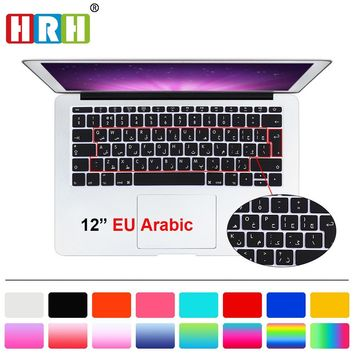 """HRH Arabic Silicone EU Keyboard Cover Skin For Macbook New Pro 13"""" A1708 and for Mac 12 inch A1534"""