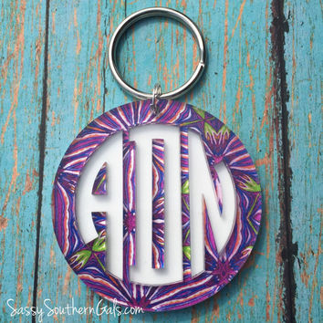 Acrylic Monogram Keychain Lilly Pulizter Inspired, Layered Monogrammed Key Chain, Monogrammed Keychain, Lilly Pulitzer Monogram Key Chain