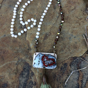 Pure Heart Artisan hand knotted long necklace with freshwater pearls, swarovski crystal soldered pendant, moss green silk tassel