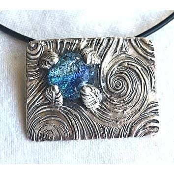 """Handmade fine silver clay pendant, 1"""" x 1.5"""" with dichroic glass cabochon. hidden bale, 20"""" leather cord, artisian jewelry"""