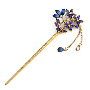 Flowers Rhinestones Drop Oil Zinc Alloy Tassels Chain Hairpins Vintage Hair Jewelry Women Hair Sticks Pins