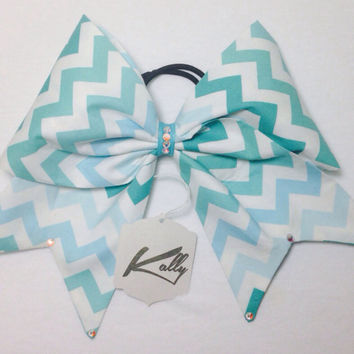 Blue Ombre Fabric Cheer Bow With Rhinstones (Kaitlin)