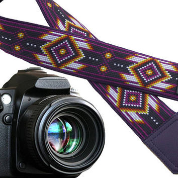 Dark purple camera strap inspired by Native Americans. Ethnic camera strap.  DSLR / SLR Camera Strap. Monogram and pocket options.