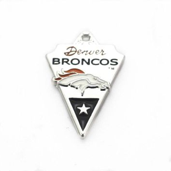 USA Denver Broncos Football Sports Dangle Charms Alloy Hanging Charms Fit Bracelet Necklace DIY Jewelry Accessories 10pcs/lot