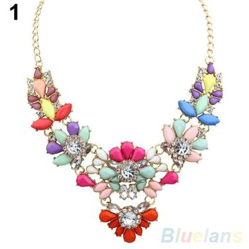 Crystal Flower Bib Statement Necklace Bubble Choker Collar Pendant Chain 1OSX